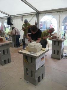The stonemasons at work